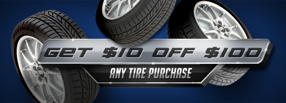 Get $10 Off $100 Any Tire Purchase